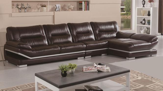 进口真皮沙发中厚头层牛皮 现代时尚客厅家具转角组合沙发6238
