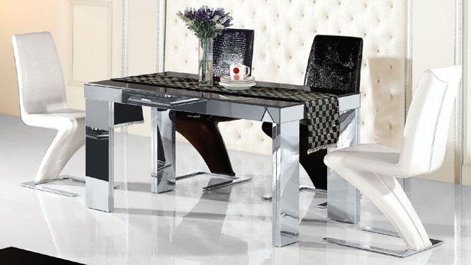 小户型不锈钢大理石餐桌椅组合简约现代方形餐台饭桌967