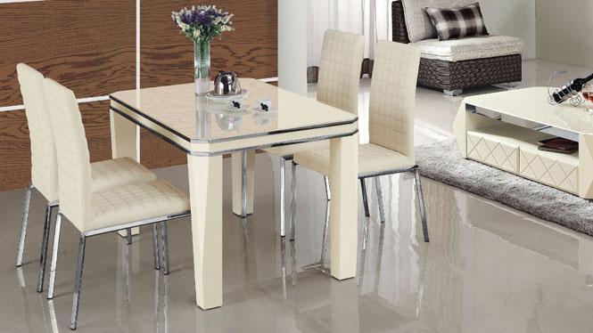 简约现代长方形板式烤漆餐桌餐厅时尚饭桌餐椅组合985