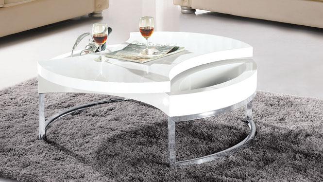 简约现代环保人造板白色钢琴烤漆 圆形 茶几边几976