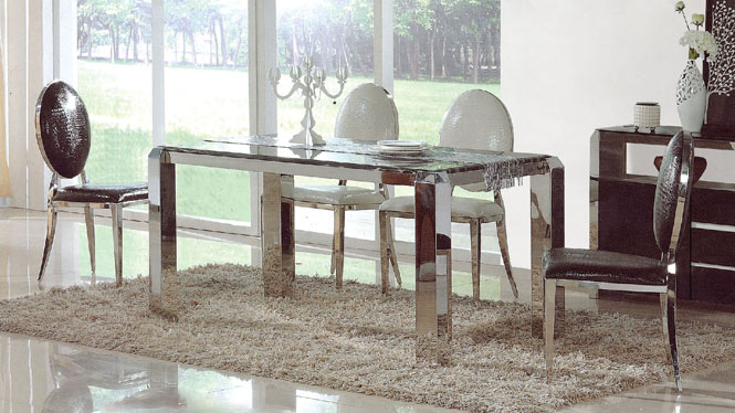 简约现代长方形烤漆餐桌不锈钢餐厅时尚饭桌餐椅组合856
