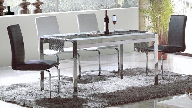 小户型不锈钢长方形大理石餐桌椅组合餐台现代简约餐桌855