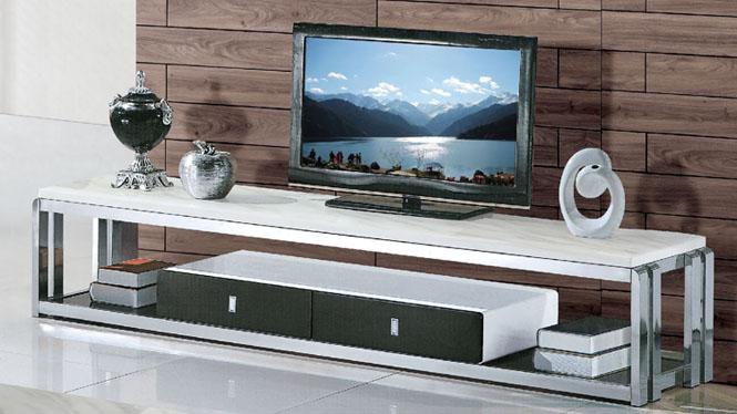 现代简约不锈钢大理石钢化玻璃电视柜组合小户型方形茶几853