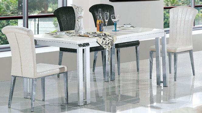 不锈钢餐桌简约饭桌大理石餐台长方形宜家小户型餐台853