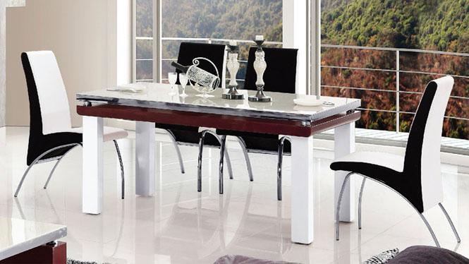 餐厅家具时尚简约现代餐桌中式餐台长方形饭桌人造板桌子851