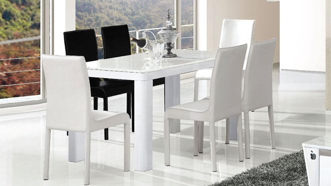 板式餐桌组合吃饭桌快餐桌椅简约家用大理石餐桌子833