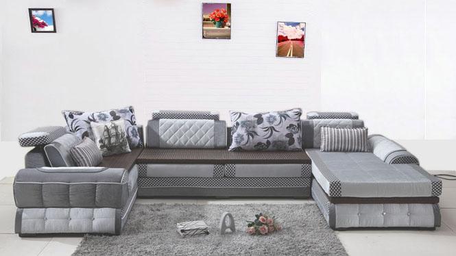 布艺沙发简约现代转角U型沙发组合可拆洗大小户型客厅沙发组合AST-5