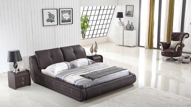 真皮床 小户型皮艺床 1.5 1.8米双人床 现代简约软体床 P9807
