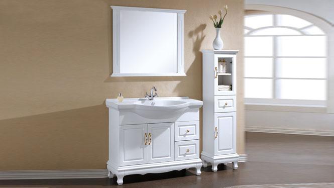 浴室柜组合卫生间洗漱洗脸洗手盆现代简约橡木实木落地柜800mm KD-BCC034W