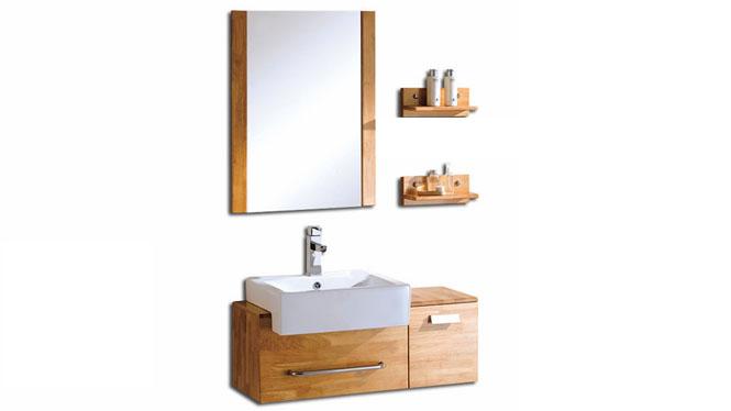 简约现代橡木浴室柜组合卫生间小洗漱台洗手洗脸盆柜实木卫浴吊柜800mm KD-BC035W