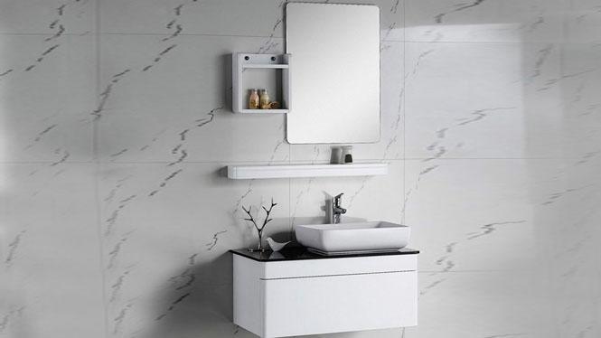 实木浴室柜吊柜挂墙式浴柜洗手盆柜组合洗漱台镜柜800mm KD-BC036W
