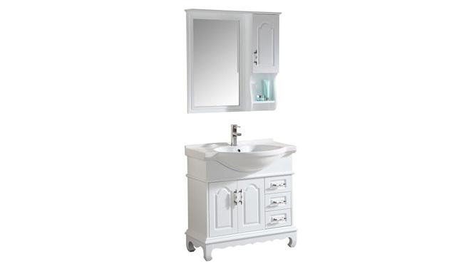 简约现代橡木实木落地式台上盆浴室柜 洗脸台落地柜900mm KD-037W