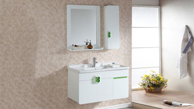 浴室柜吊柜组合挂墙式镜柜实木洗脸盆浴柜现代简约1m KD-BC038W