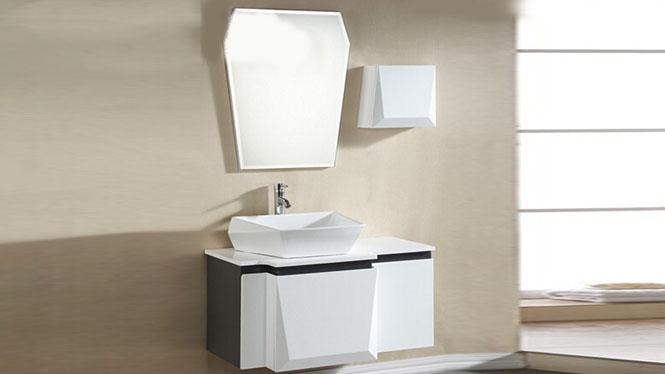 实木浴室柜组合挂墙式橡木卫浴柜洗手脸台上盆吊柜洗漱台1000mm800mm900mm KD-BC041W
