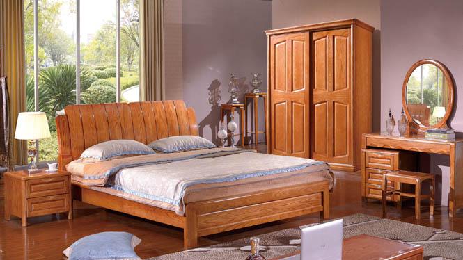白腊木双人床 实木家具 全实木1.8米中式婚床特价大床高箱储物床BL108