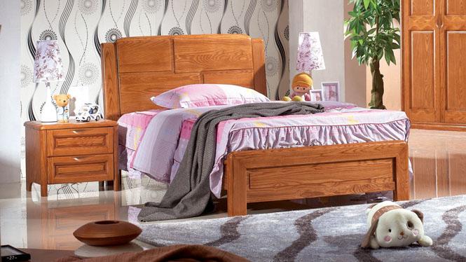 床 双人床 儿童床 单人床 白腊木 水曲柳实木床 特价 宜家 简约BL105#