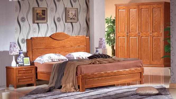 进品白腊木全实木高档卧室厚重款婚床现代中式1.8米双人实木床BL116