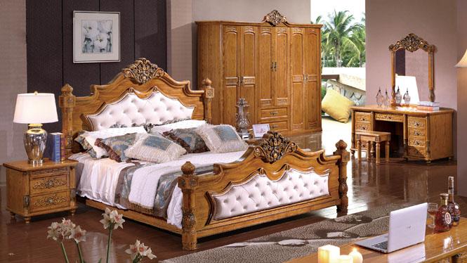 实木床1.8米双人欧式田园进口白腊木婚床时尚婚床BL104