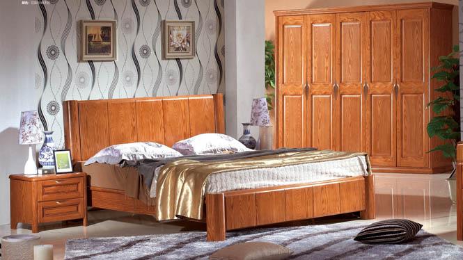 实木家具榆木樱桃木家具实木白栓木床储物床高箱床白腊木婚床BL118