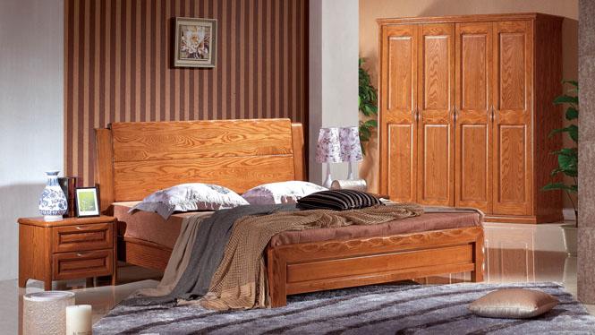 水曲柳实木床白腊木婚床双人床1.8米卧室中式床铺卧室BL115