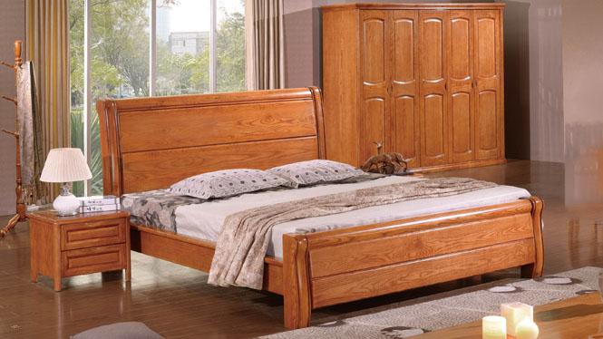 现代中式简约纯实木床 1.8米双人床白腊木雕花婚床 卧室家具特价BL113