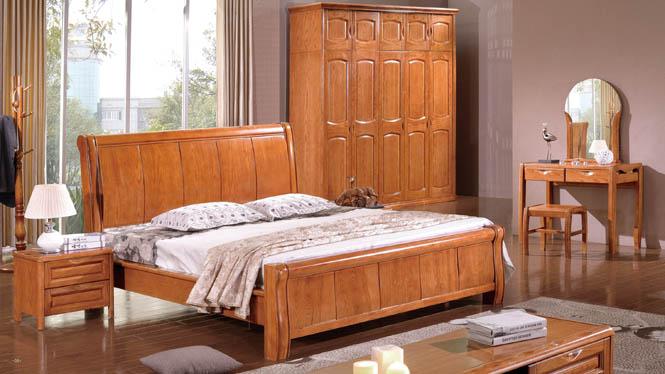 现代中式时尚进口水曲柳1.8米卧室实木床白腊木高箱储物婚床BL111
