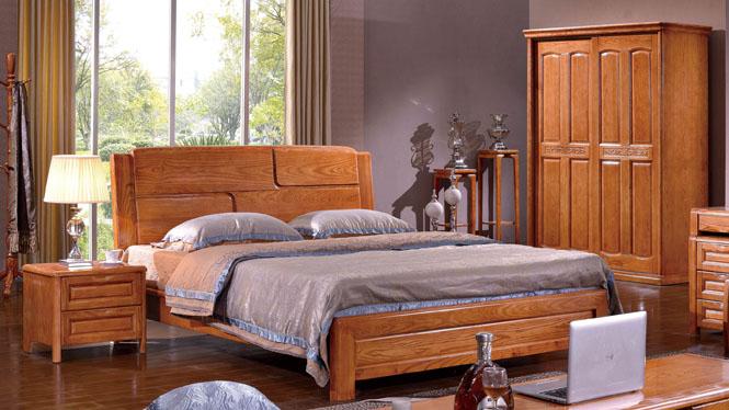 约现代厚重款卧室实木床中式白腊木床 双人床1.8米BL105
