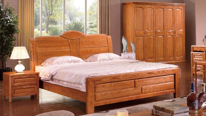 中式实木套房 优质白蜡木家具 白腊木双人床 实木床1.8米婚床BL109