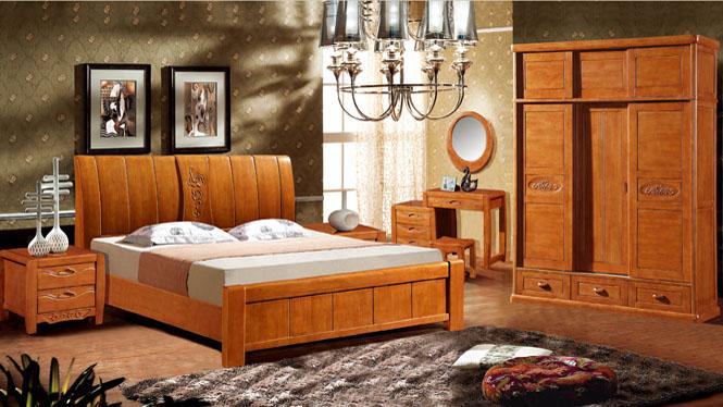 实木床 橡木床 中式双人床1 8米高箱婚床特价8038#