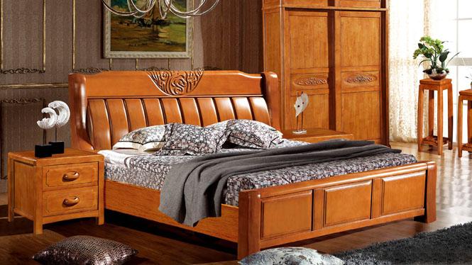 实木床橡木床1.8米双人床卧室家具简约现代中式婚床3089#