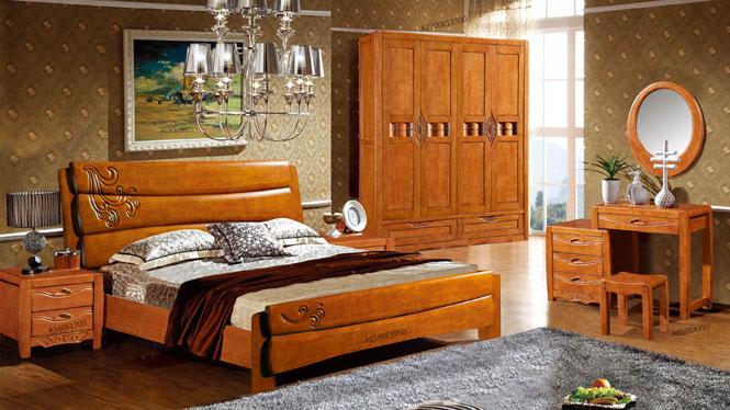 实木床 橡木床 双人床 卧室床类 现代中式家具1.8米床958#