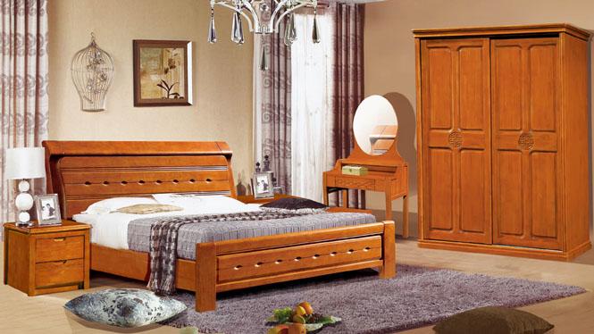 现代中式实木床1.8米双人床中式橡木大床家具1309#