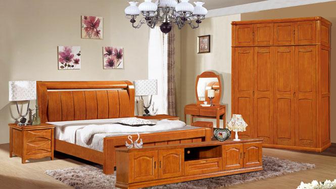 实木床 橡木床 中式双人床1 8米高箱婚床特价3090