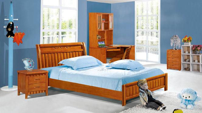实木床类儿童床板式韩式公主床橡木床男孩女孩1.2床205#