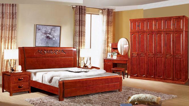 实木床白橡木床1.8米 双人床现代简约卧室家具原木大床 婚床9801#