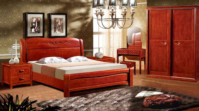 中式实木床1.8米双人床现代简约橡木床单人床特价9802#