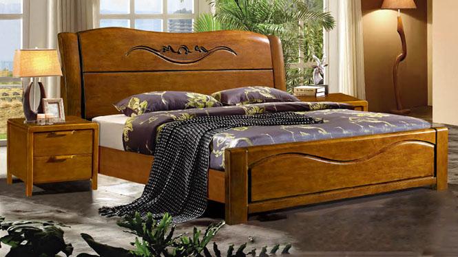 实木床白橡木双人床美式乡村大床北欧环保卧室家具307#