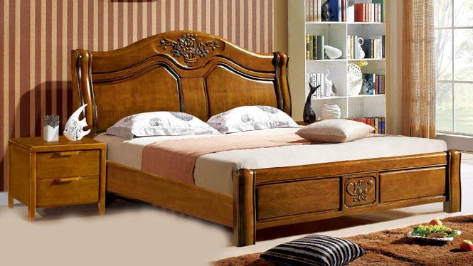 橡木床双人床1.8米 简约现代纯实木双人床环保储物高箱床306#