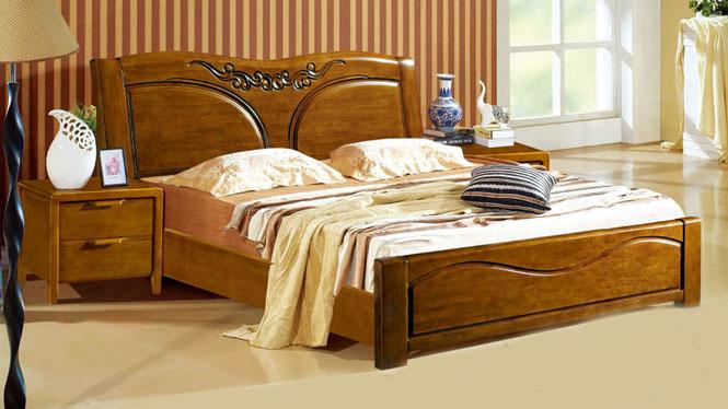 实木床橡木床 简约现代橡木床1.8米双人床 卧室实木家具304#