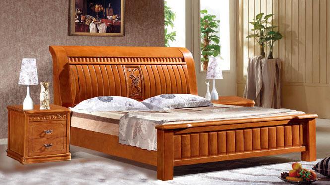 实木床白橡木床美式简约实木床 1.8米双人床卧室实木家具1310#