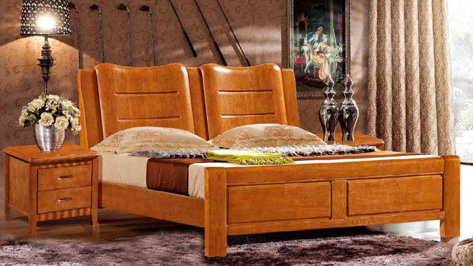 实木床1.8米橡木家具床双人床现代中式高箱储物床婚床6369#
