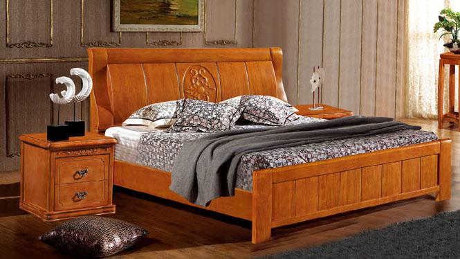 简约现代中式1.8米实木床橡木床婚床单双人床高箱储物床8363#