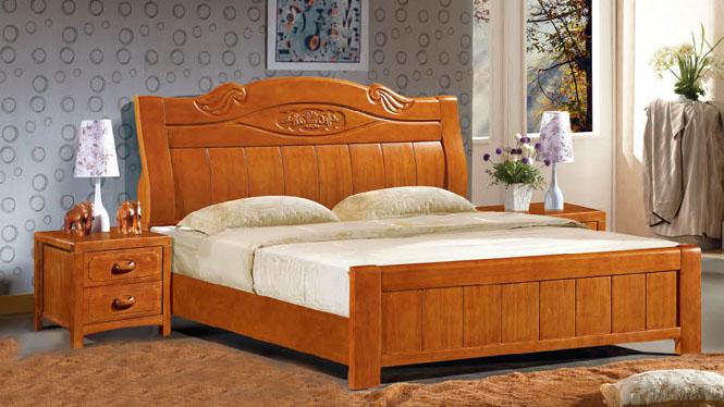 实木床白橡木床 北欧简约实木单人双人床1.8米床 卧室家具8361#
