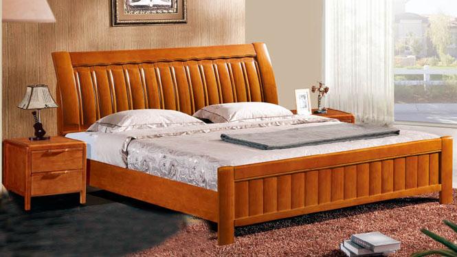 中式实木床现代橡木床原木双人床高箱婚床1.8米全纯实木床612#