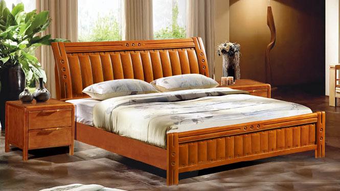 中式实木床橡木床板式床 简约现代1.8米双人床储物床特价609#