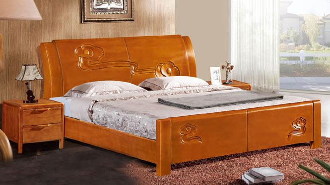 实木床1.8米双人床白橡木床简约现代小户型床卧室家具921#