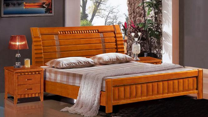 实木床 1.8米双人床 现代中式 橡木床 个性实木卧室家具603#