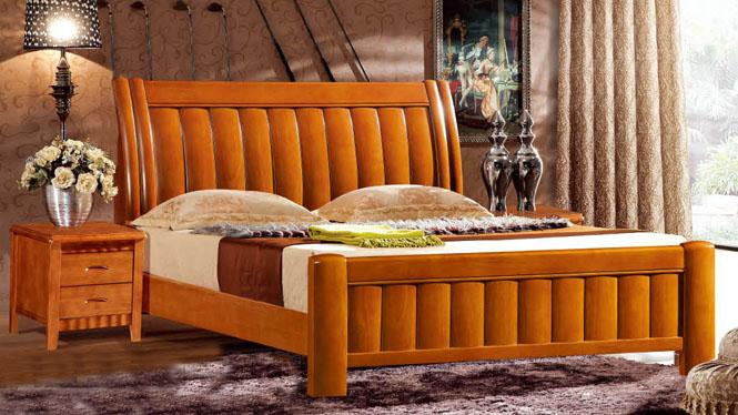 欧式床 双人床1.8米 法式床 橡木实木床 田园简约双人床629#