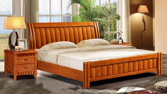 欧式床双人床 1.8米法式床 田园公主床实木床橡木婚床613#