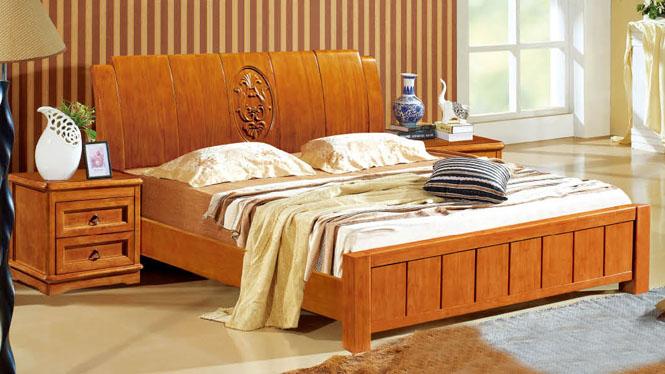实木床橡木双人床成人床1.8米现代简约卧室家具1318#